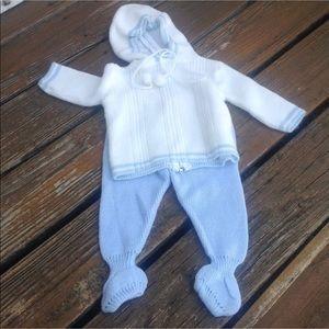 Vtg Blue Bird Knit Hoodie Footie Baby Infant Pom